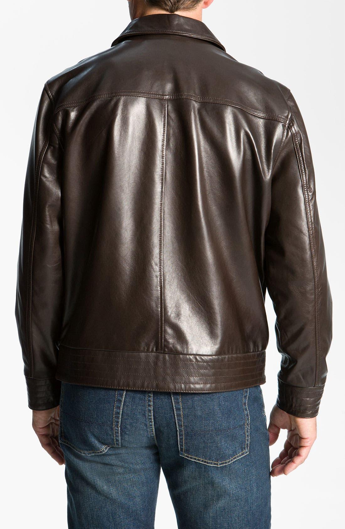 Alternate Image 2  - Cutter & Buck 'Wildridge' Leather Bomber Jacket (Big & Tall)