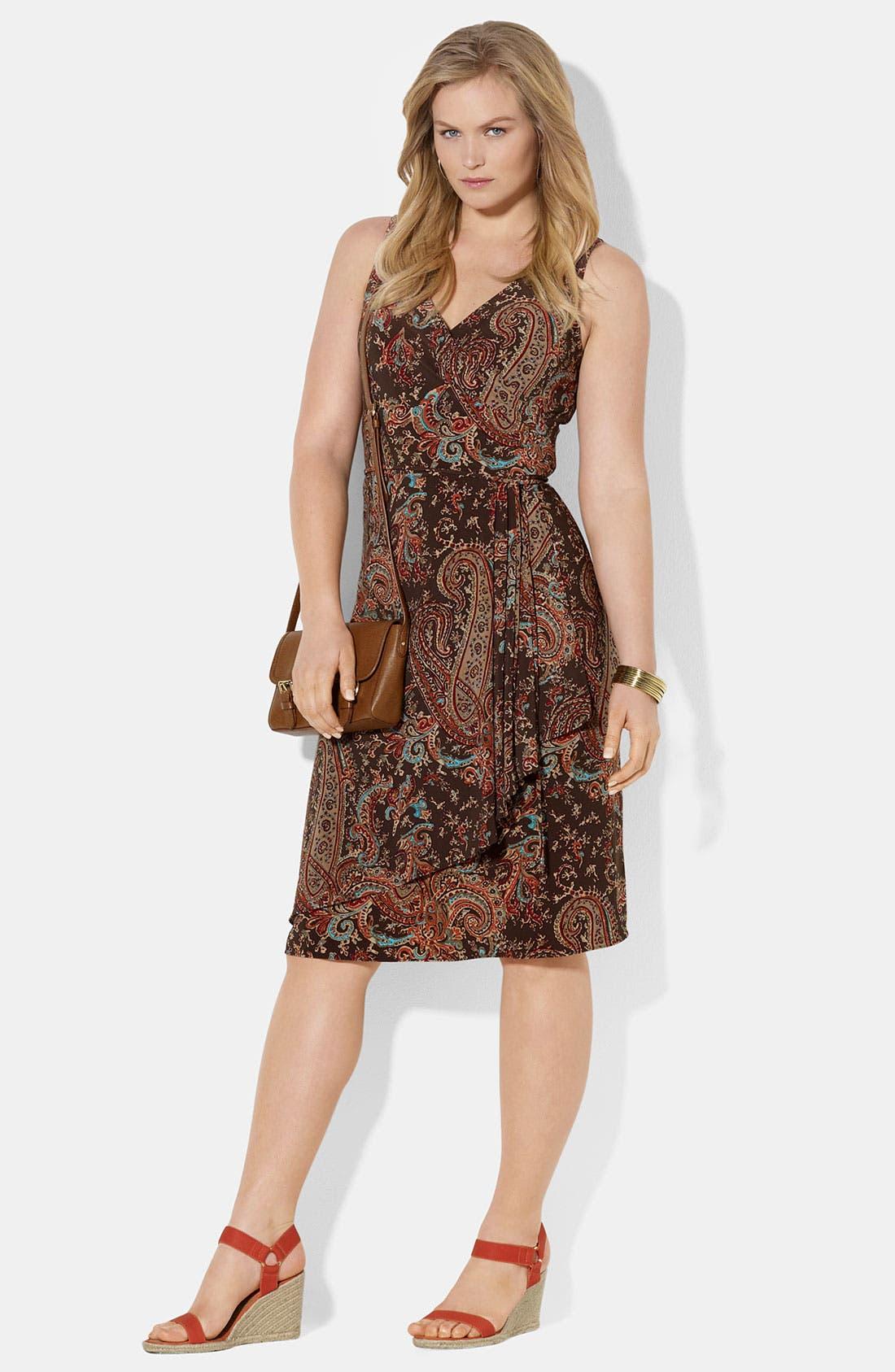 Main Image - Lauren Ralph Lauren Sleeveless Faux Wrap Jersey Dress (Plus)