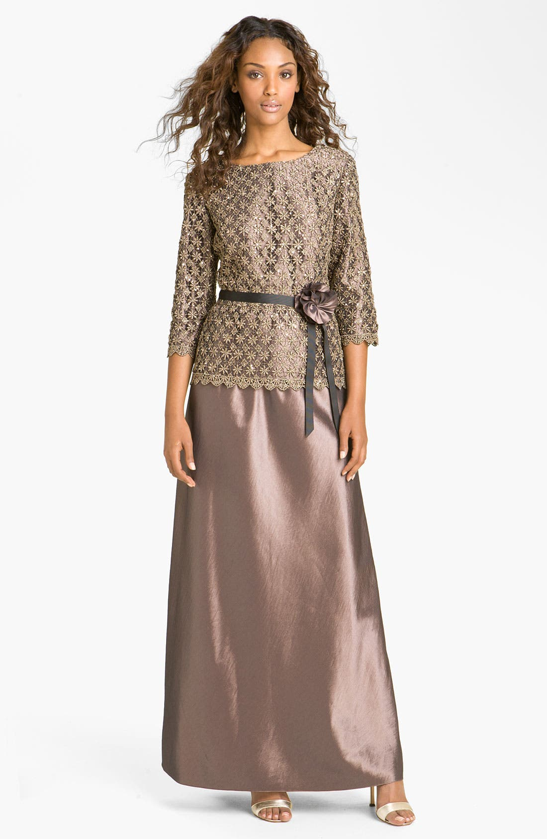 Alternate Image 1 Selected - Alex Evenings Two-Piece Lace Overlay Taffeta Dress
