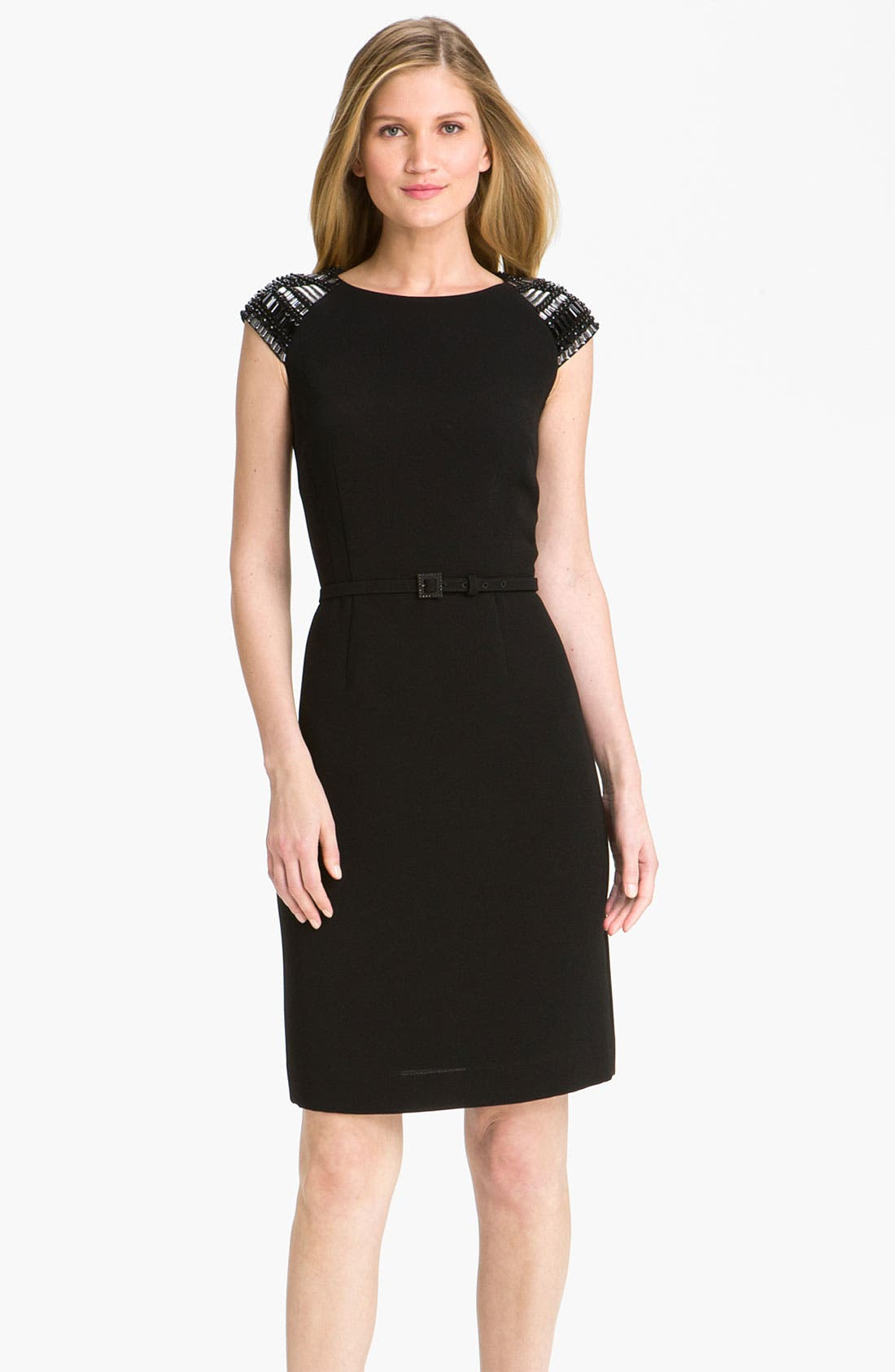 Main Image - Tahari by Arthur S. Levine Embellished Cap Sleeve Sheath Dress