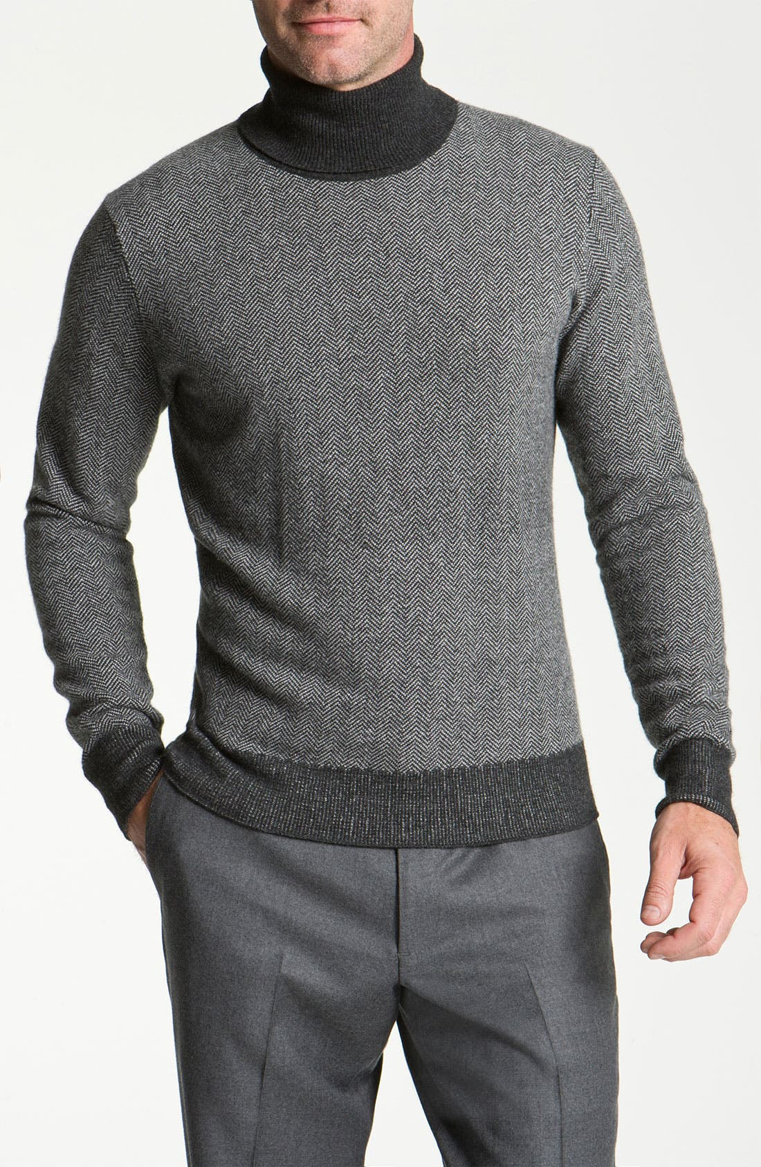 Main Image - Canali Merino Wool & Cashmere Turtleneck Sweater
