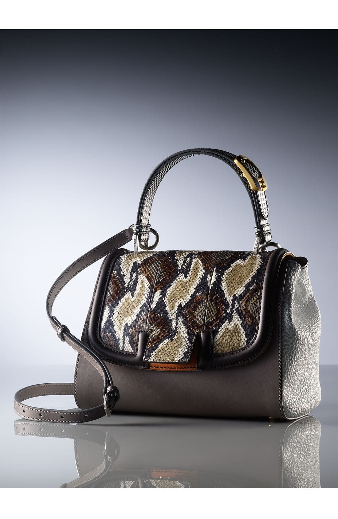 Alternate Image 5  - Fendi 'Silvana Elaphe Fantasy' Leather & Genuine Snakeskin Satchel