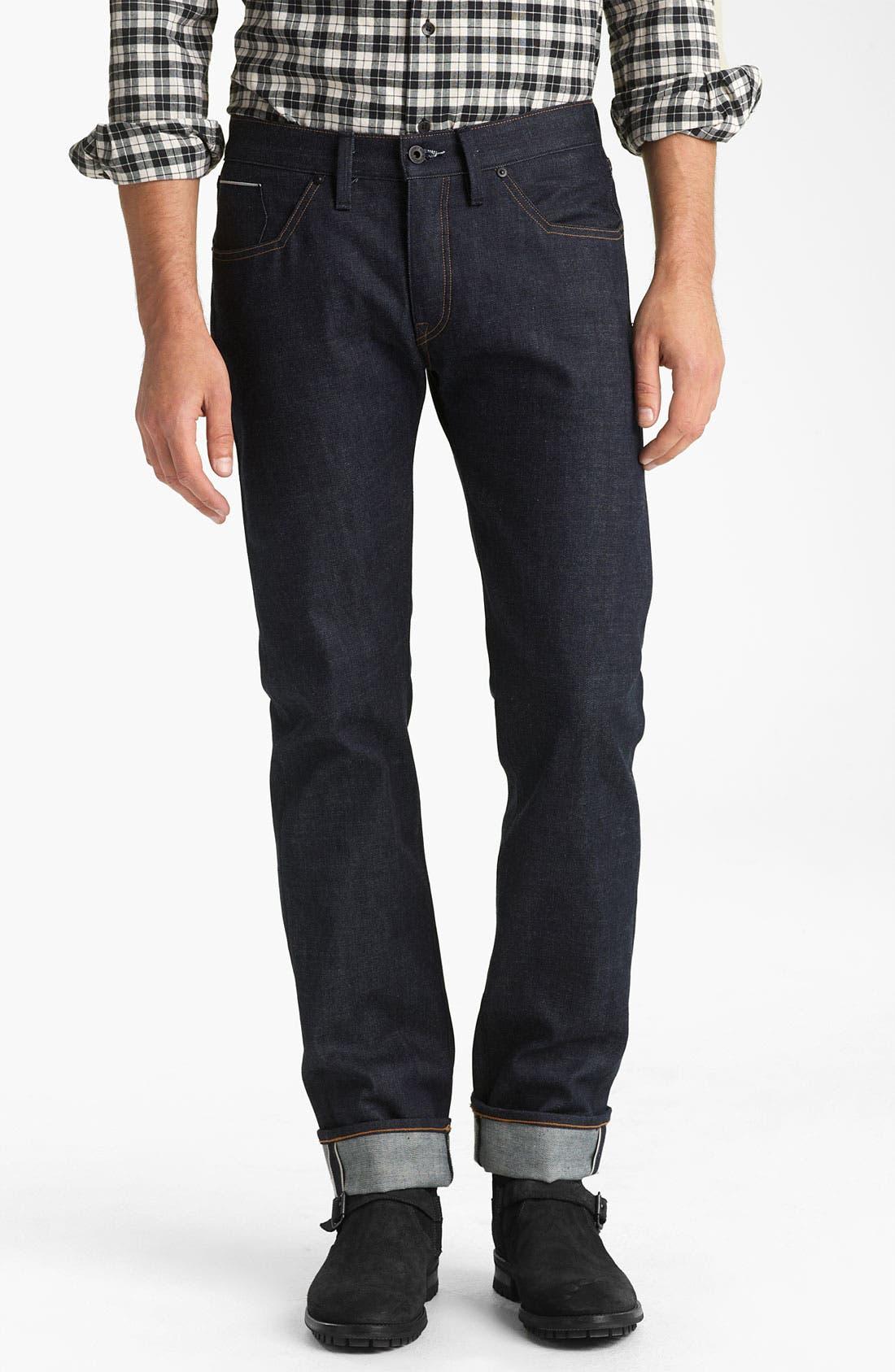 Alternate Image 2  - Rogan 'Puck' Slim Straight Leg Selvedge Denim Jeans (Indigo)