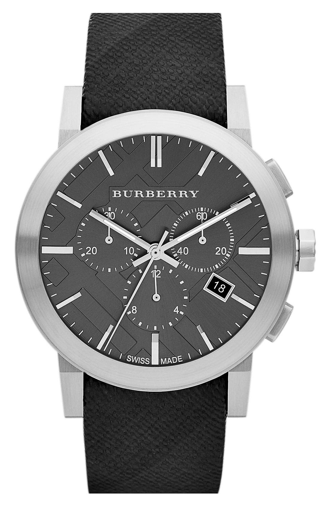 Alternate Image 1 Selected - Burberry Check Stamped Round Dial Watch, 42mm