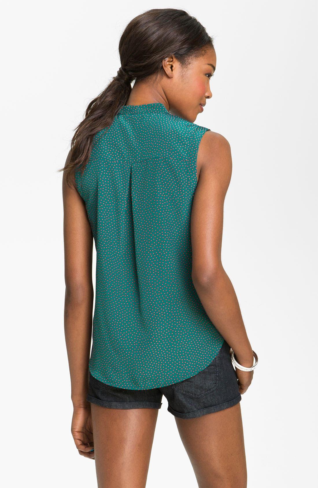 Alternate Image 2  - Chloe K Print Tie Neck Shirt (Juniors)