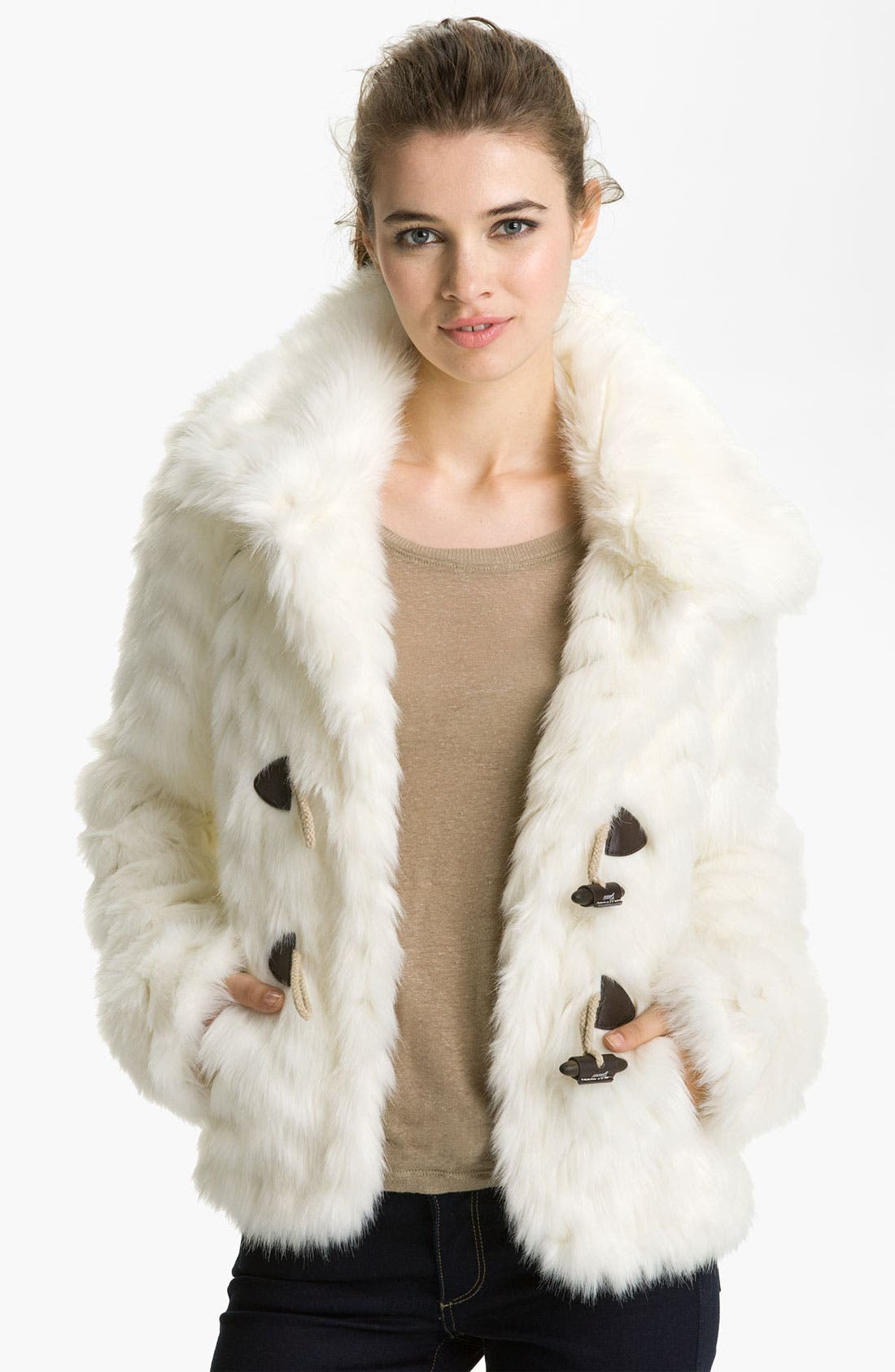 Alternate Image 1 Selected - GUESS Grooved Faux Fur Toggle Jacket