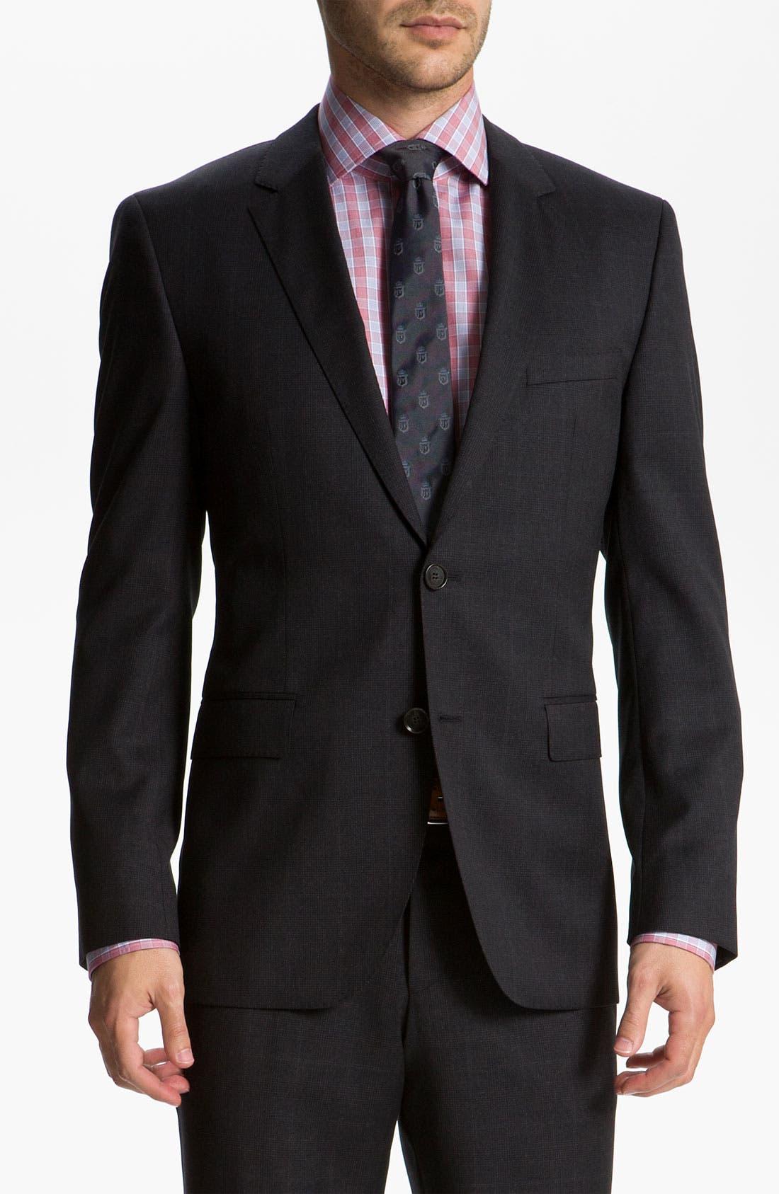 Main Image - BOSS Black 'James/Sharp' Trim Fit Plaid Suit