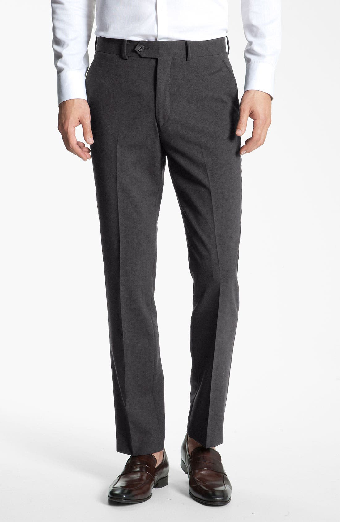Alternate Image 1 Selected - John Varvatos Star USA 'Petro' Flat Front Wool Trousers