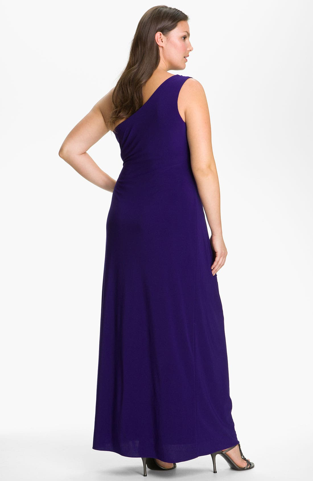 Alternate Image 2  - JS Boutique Beaded One Shoulder Jersey Gown (Plus)