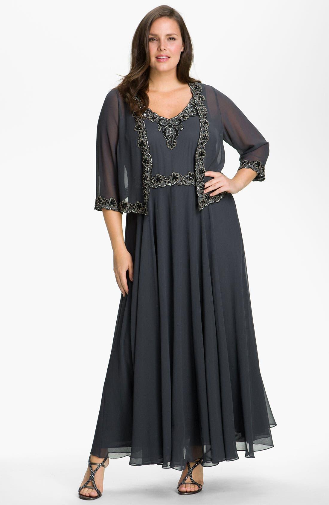 Main Image - J Kara Beaded Chiffon Gown & Jacket (Plus Size)