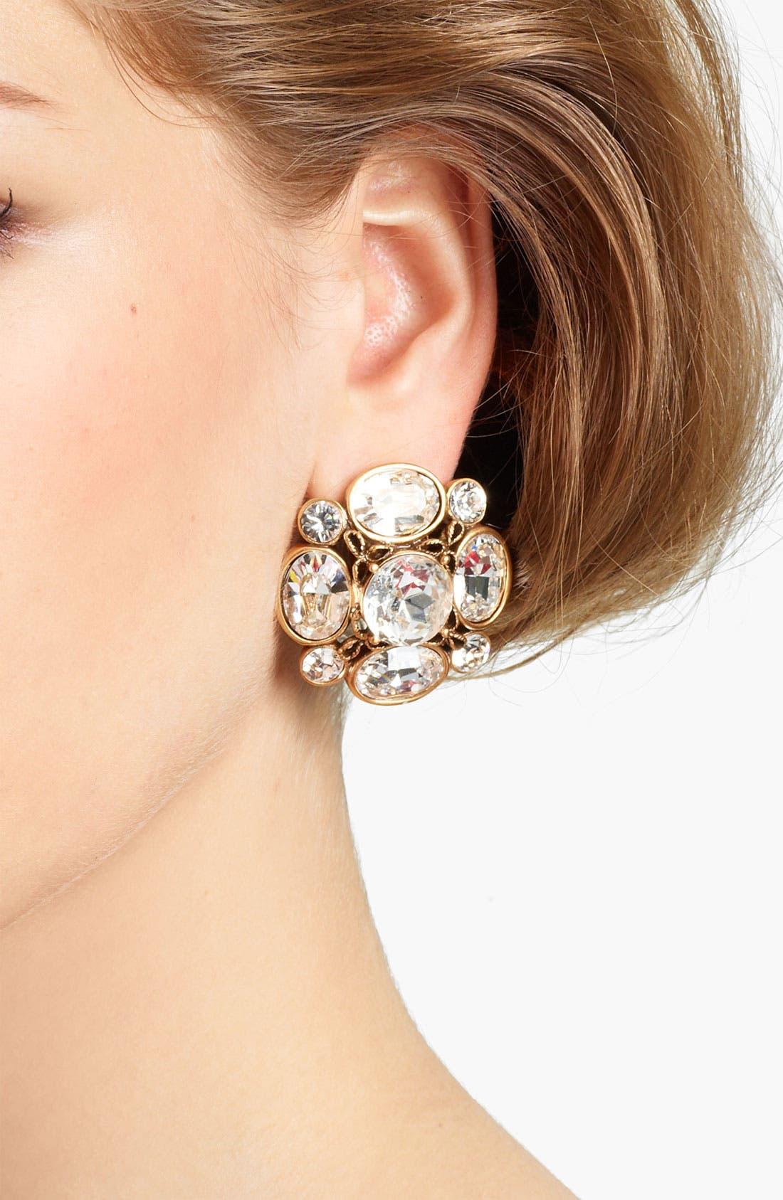 Alternate Image 2  - Oscar de la Renta Crystal Button Earrings