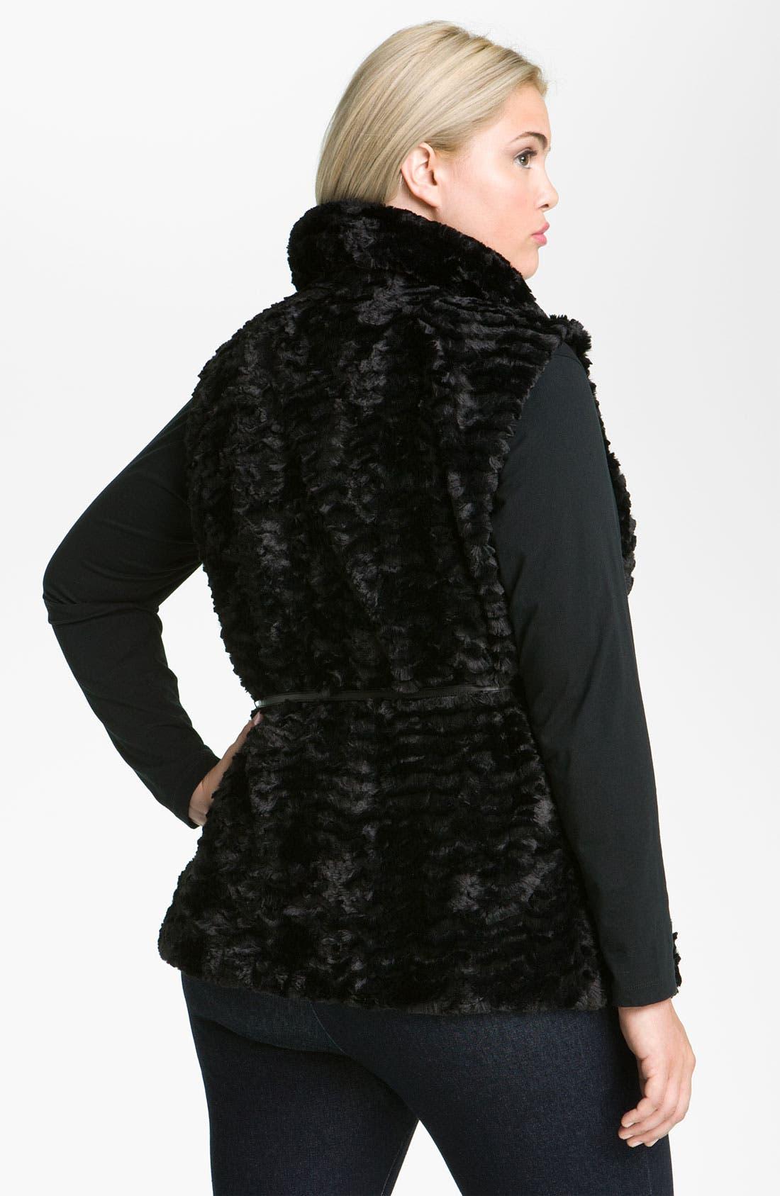 Alternate Image 3  - Gallery Crushed Faux Fur Vest (Plus)