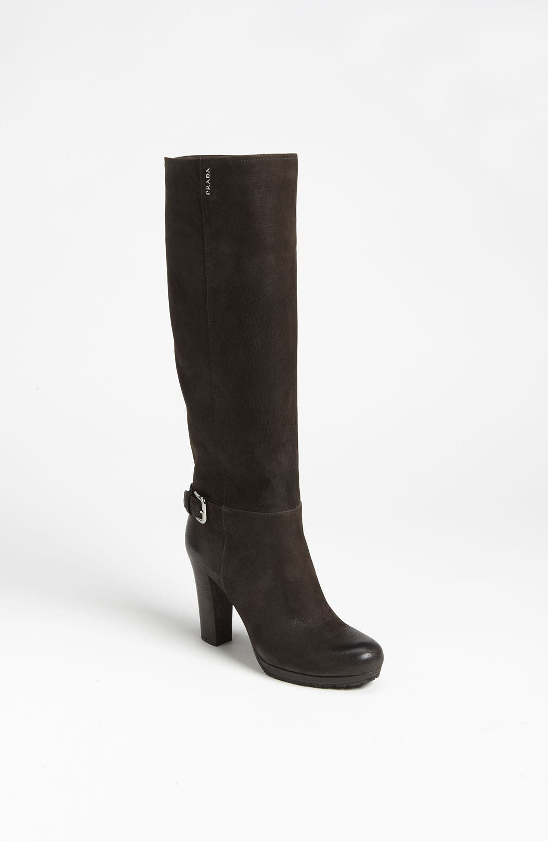 Alternate Image 1 Selected - Prada Buckle Leather Tall Boot