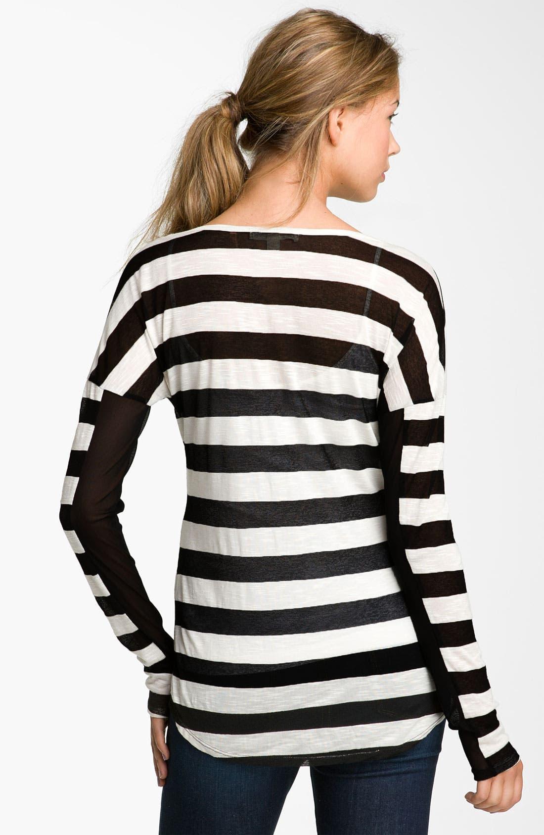 Alternate Image 2  - Painted Threads Burnout Stripe Tee (Juniors)