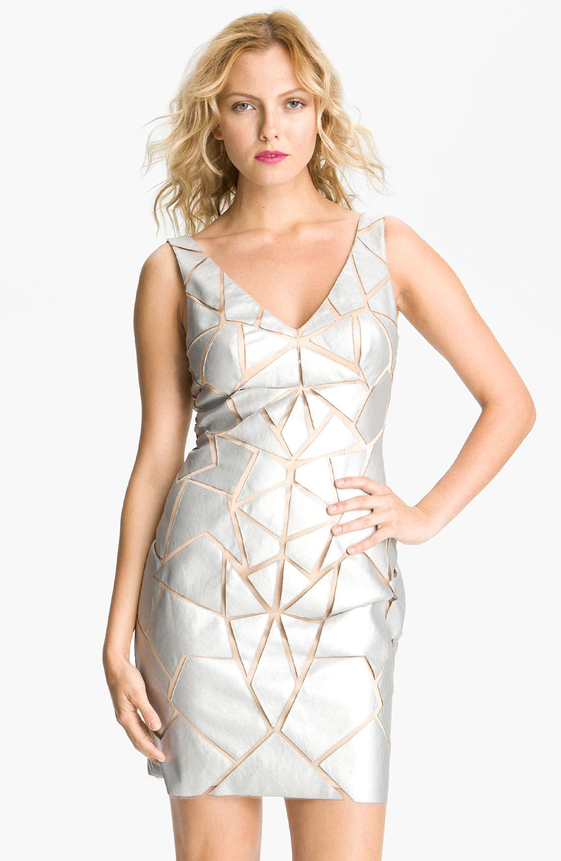 Alternate Image 1 Selected - Aidan Mattox Geometric Appliqué Tulle Sheath Dress