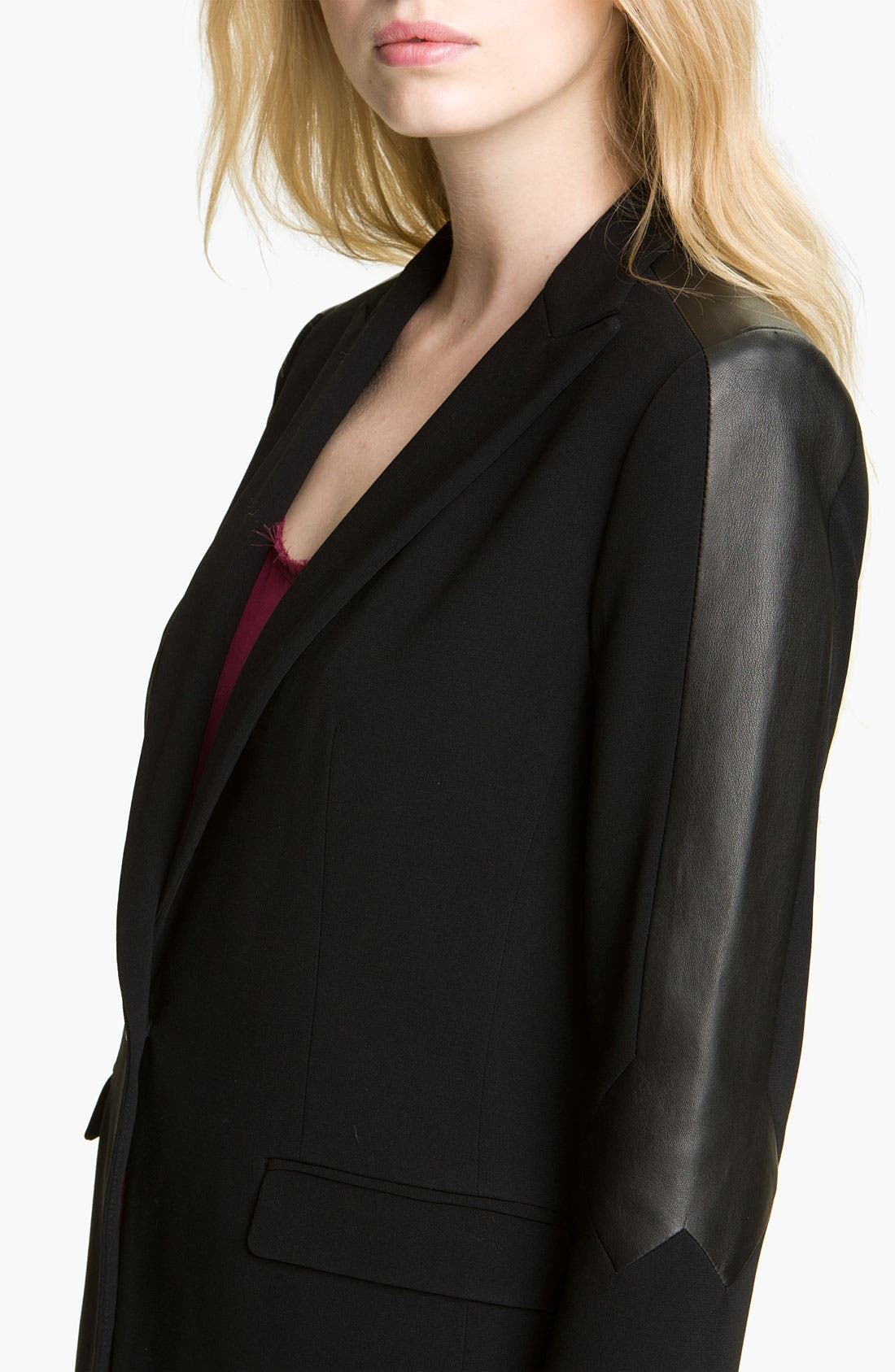 Alternate Image 3  - rag & bone 'Gayatri' Leather Trim Blazer