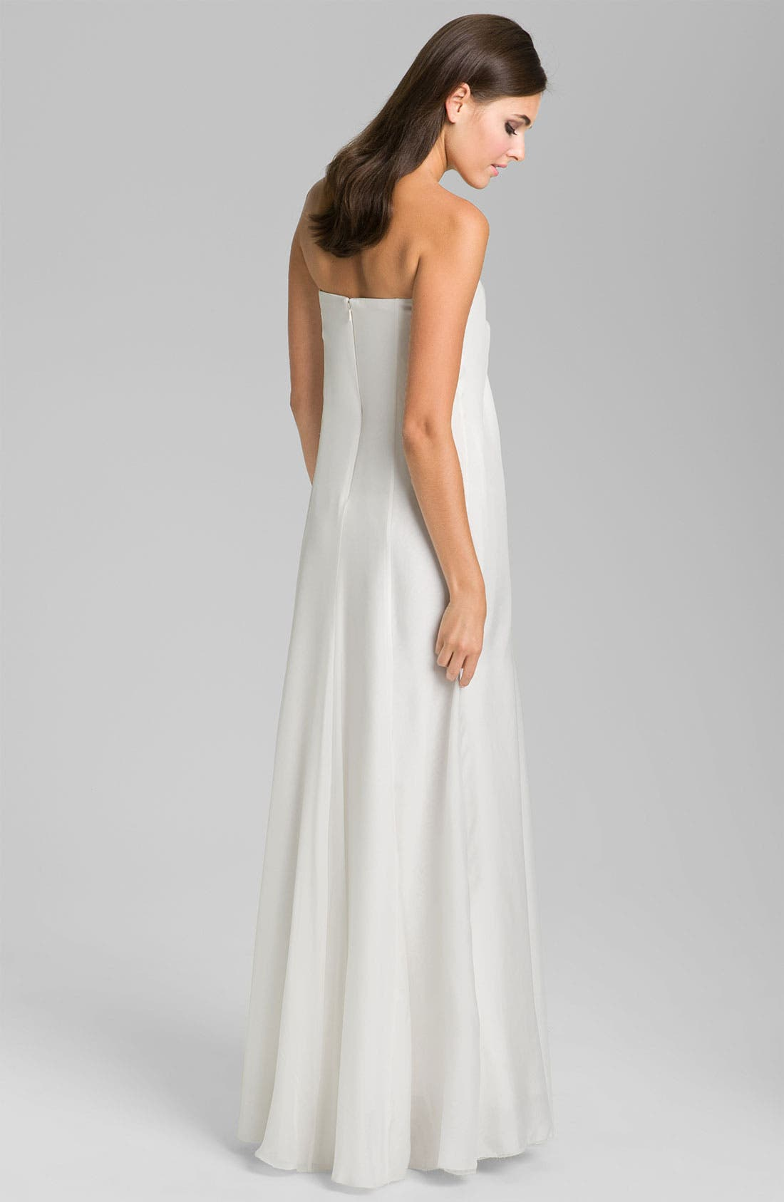 Alternate Image 2  - Nicole Miller Strapless Silk Chiffon Gown