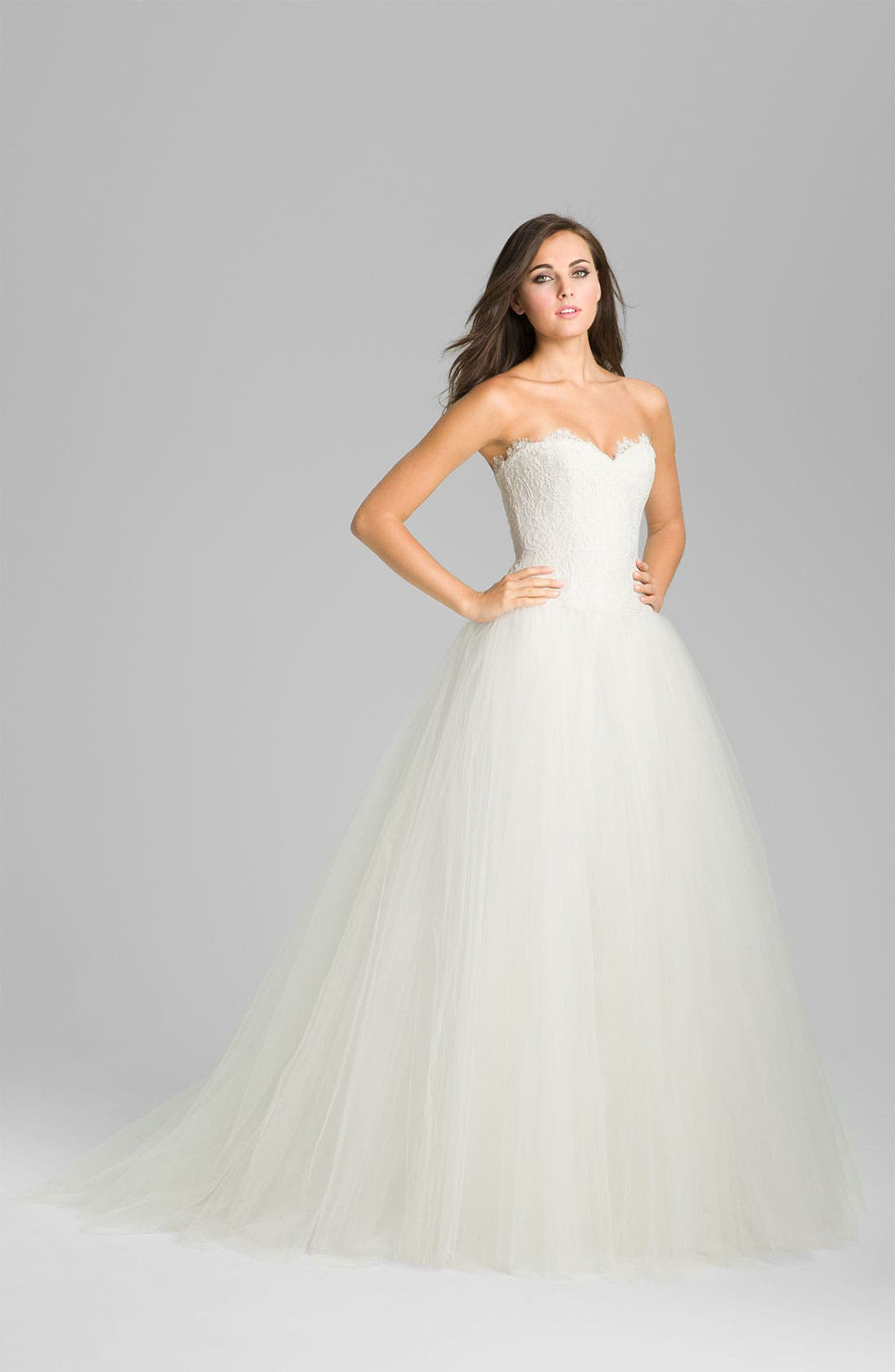 Main Image - Theia Strapless Lace & Tulle Ballgown