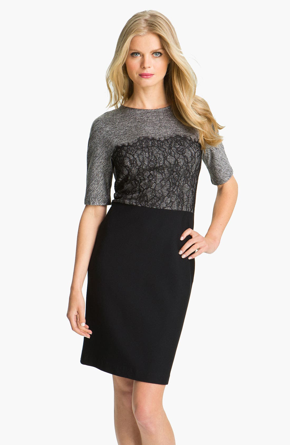 Main Image - Suzi Chin for Maggy Boutique Mixed Media Sheath Dress