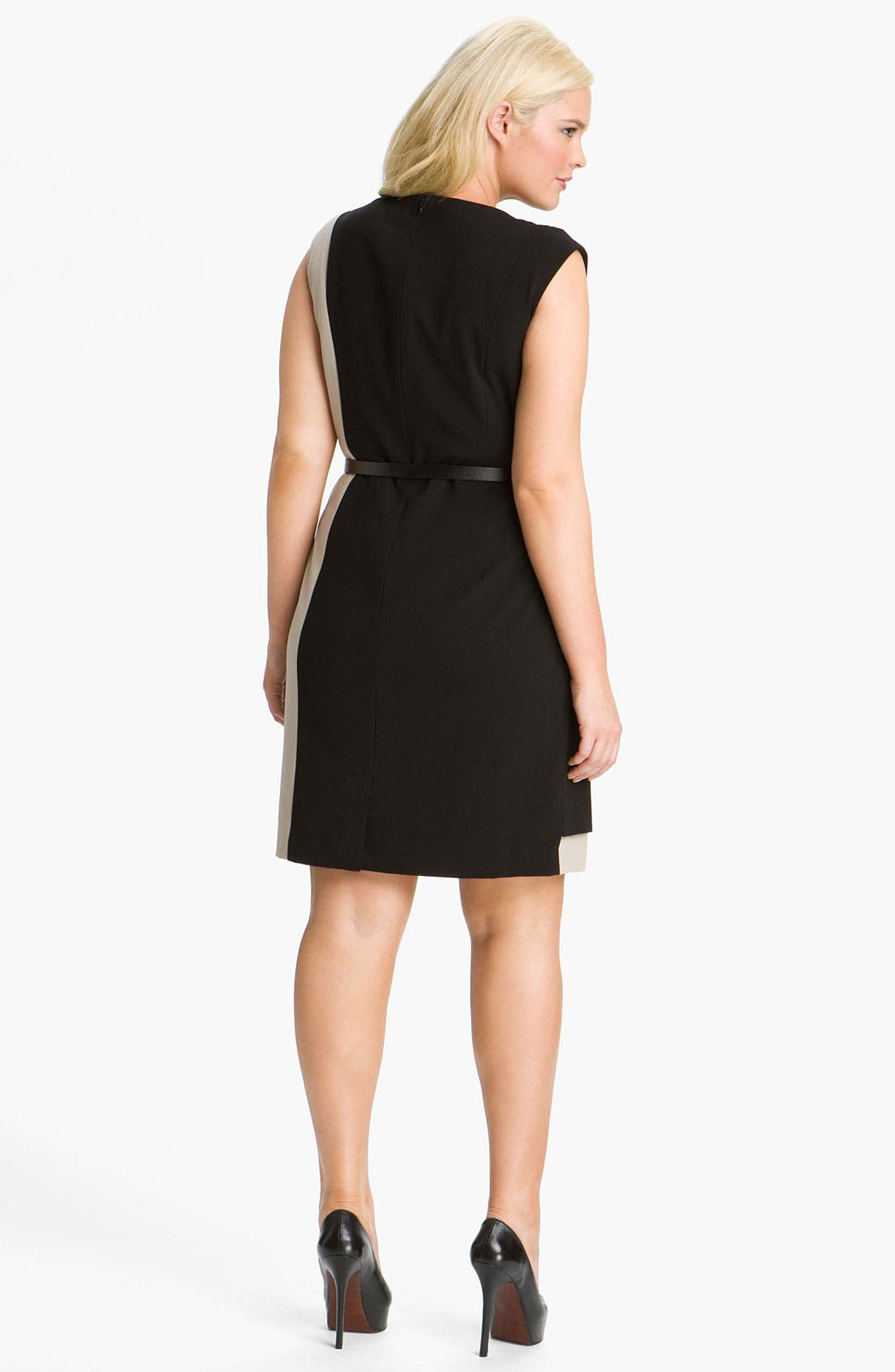 Alternate Image 2  - Calvin Klein Colorblock Belted Sheath Dress (Plus Size)