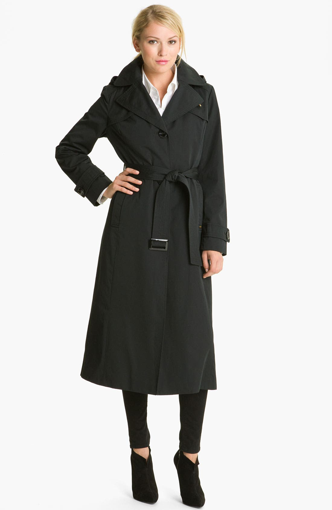 Alternate Image 1 Selected - Ellen Tracy 'Maxi' Detachable Hood Raincoat