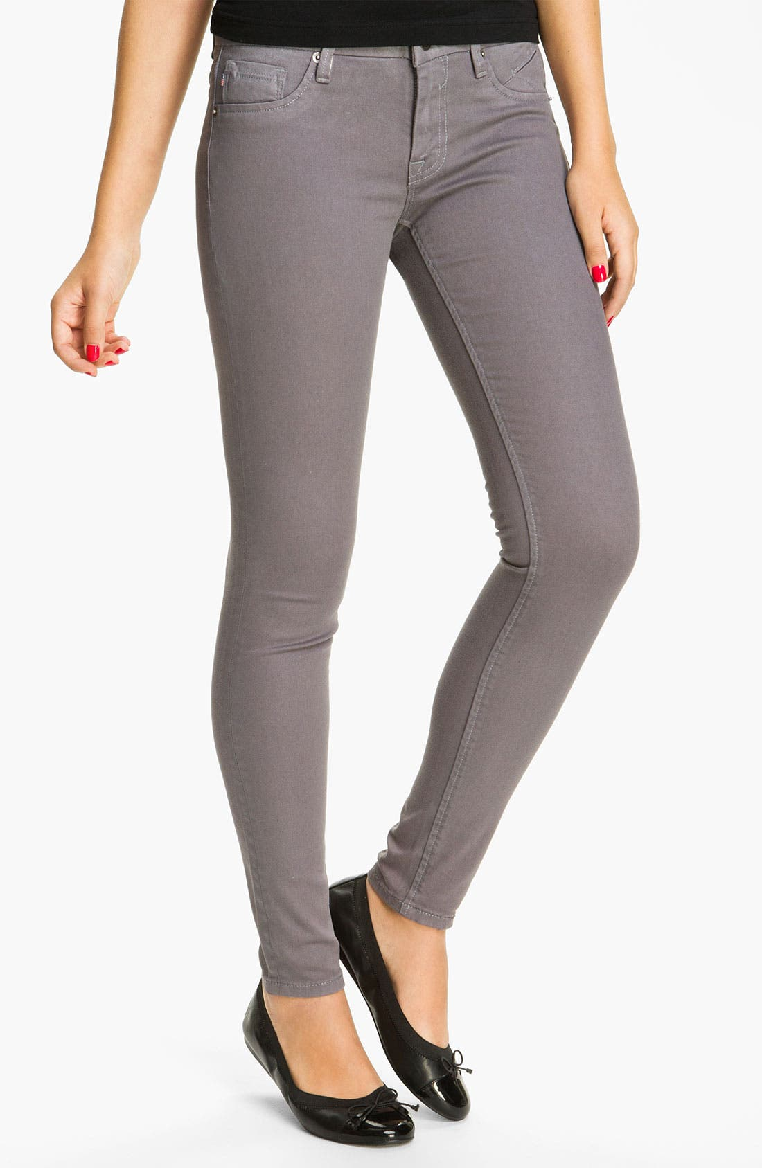 Alternate Image 2  - Vigoss Coated Skinny Jeans (Grey) (Juniors)