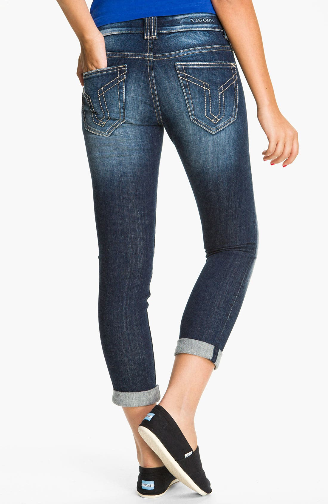 Alternate Image 1 Selected - Vigoss 'Thompson' Stretch Jeans (Dark) (Juniors)