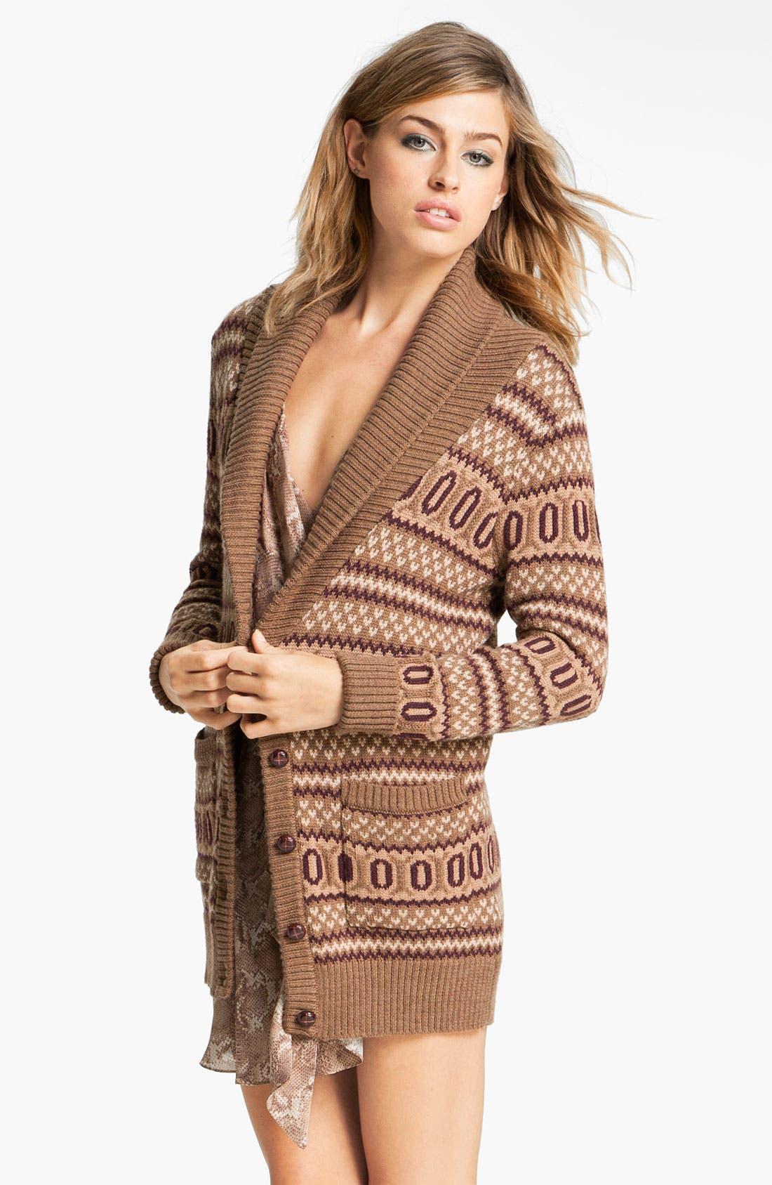 Alternate Image 1 Selected - Haute Hippie Intarsia Merino Wool Cardigan