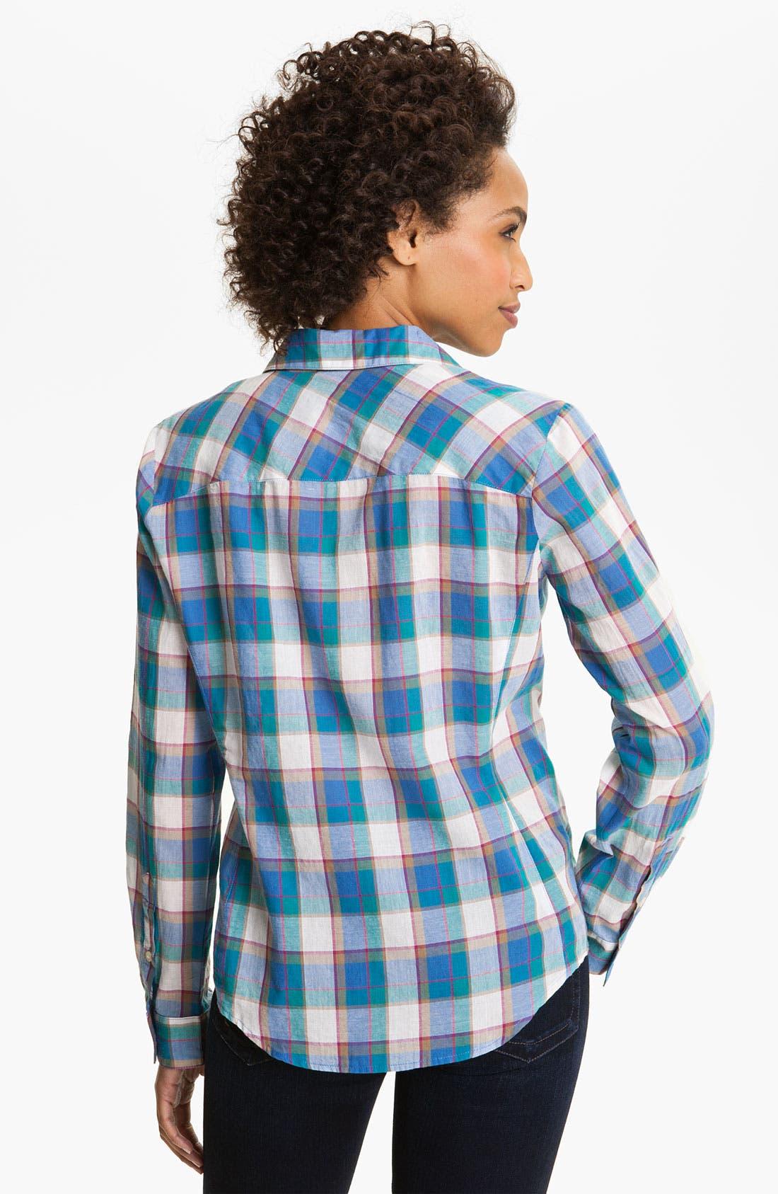 Alternate Image 2  - Sandra Ingrish Roll Sleeve Paid Shirt