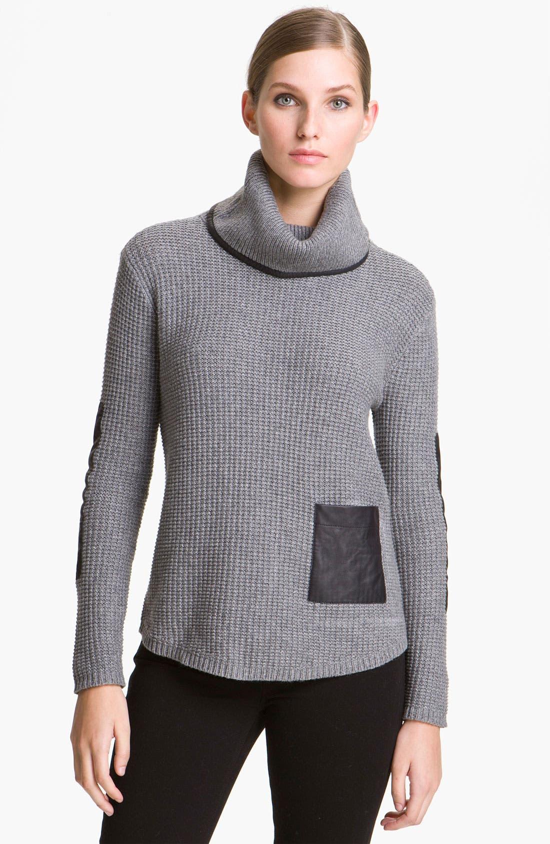 Main Image - Elizabeth and James Leather Trim Turtleneck Sweater