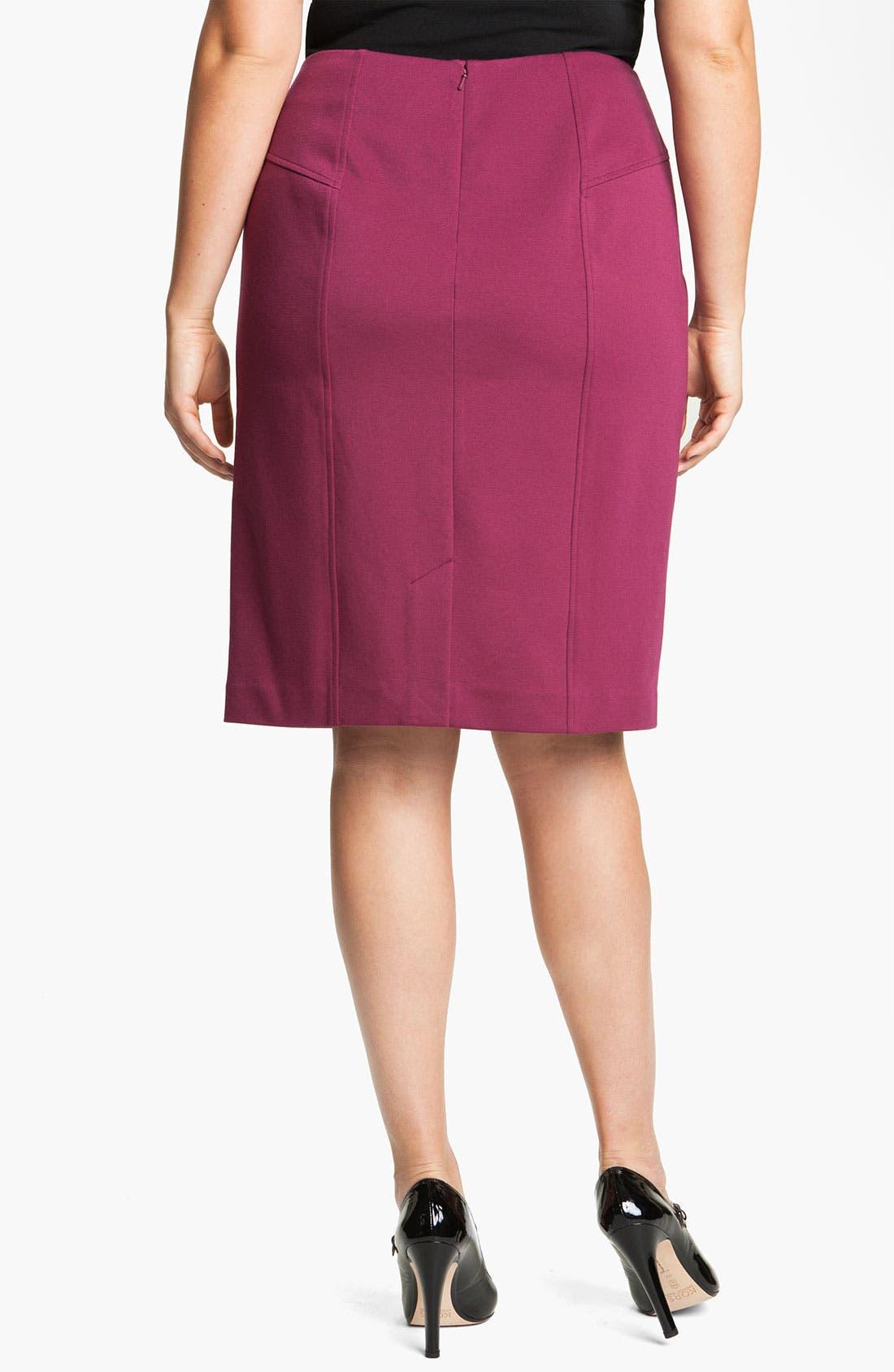 Alternate Image 2  - Sejour Seamed Ponte Knit Skirt (Plus)