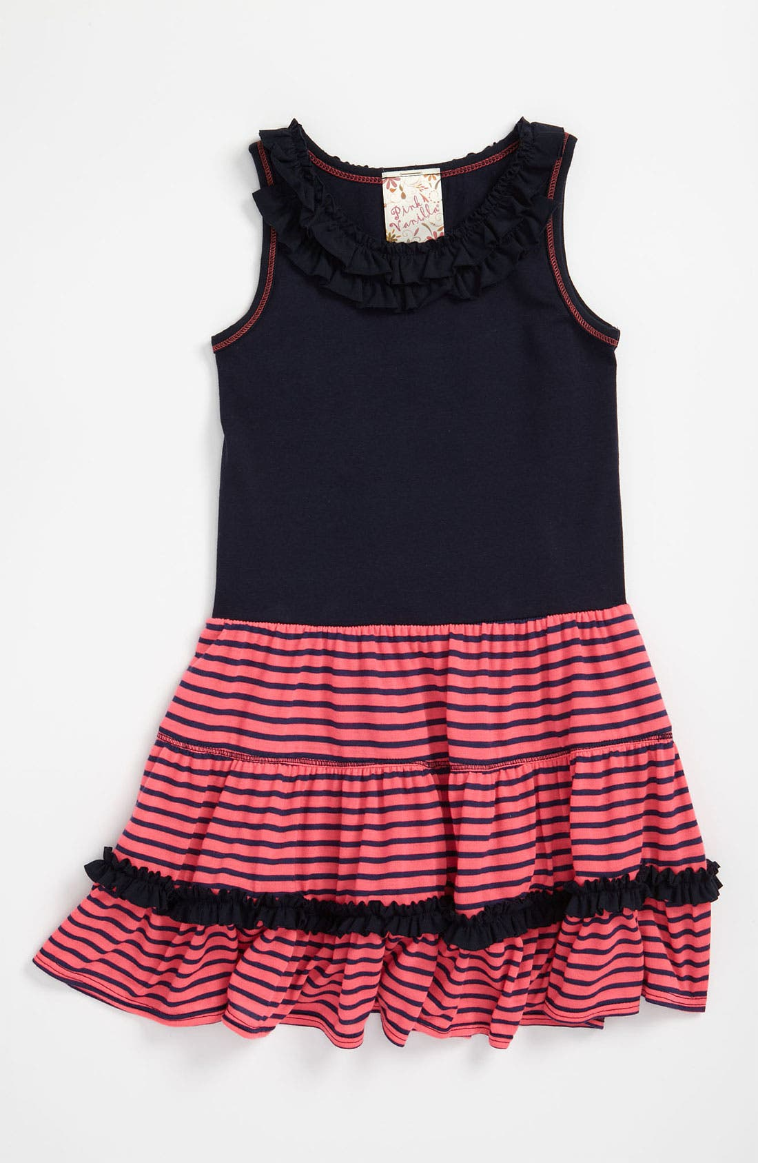 Alternate Image 1 Selected - Pink Vanilla Floral Ruffle Neck Dress (Little Girls)