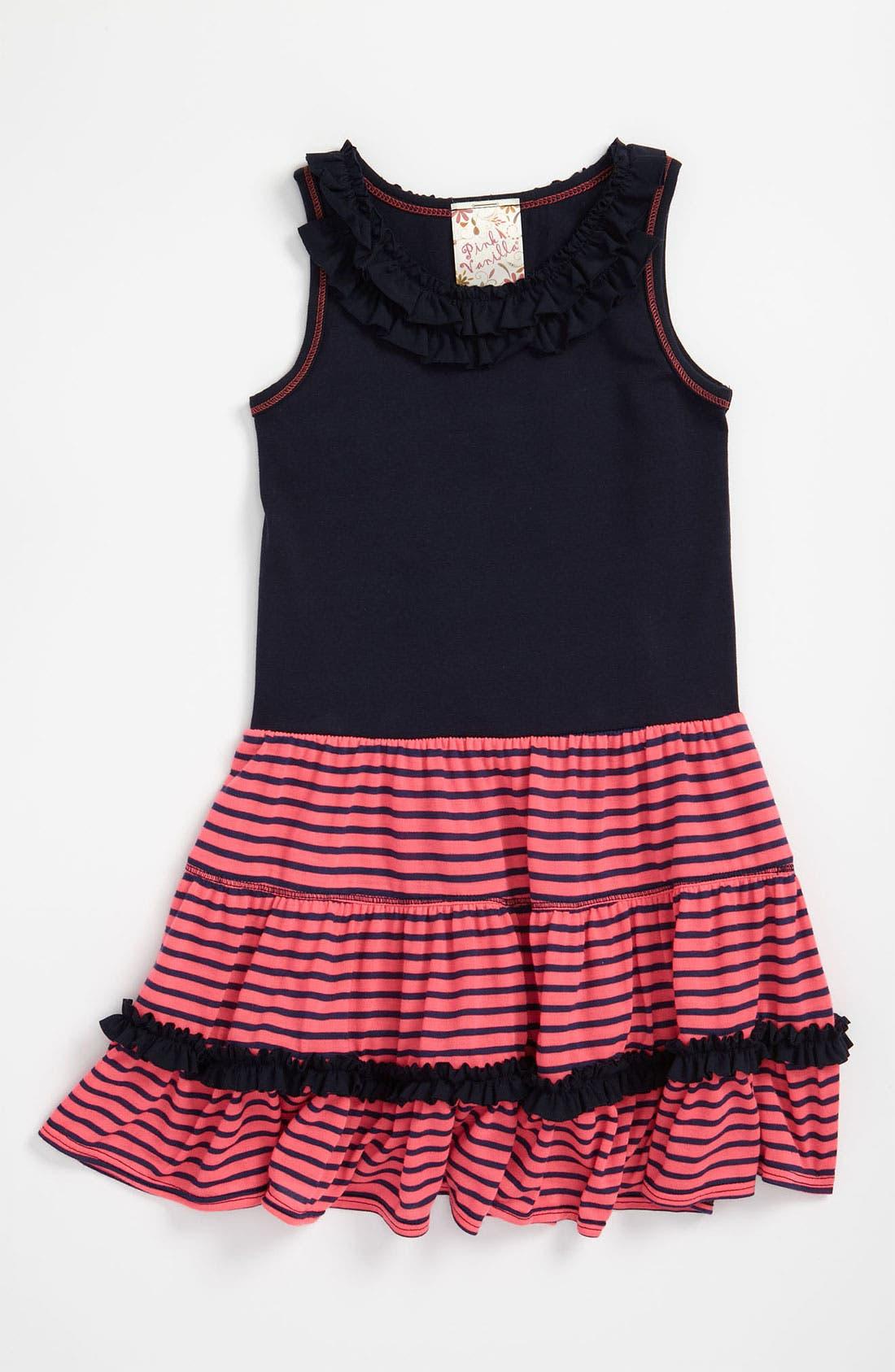 Main Image - Pink Vanilla Floral Ruffle Neck Dress (Little Girls)