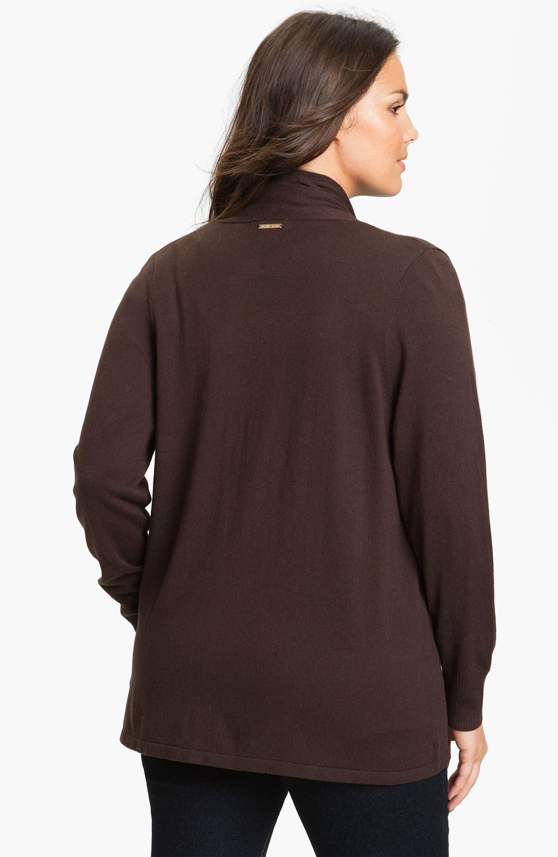 Alternate Image 2  - MICHAEL Michael Kors Drape Front Crop Cardigan (Plus)