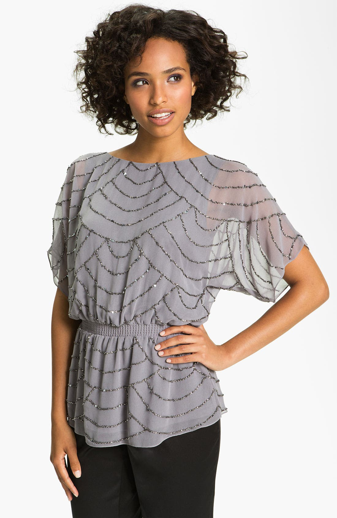 Main Image - Adrianna Papell Embellished Dolman Sleeve Chiffon Blouse