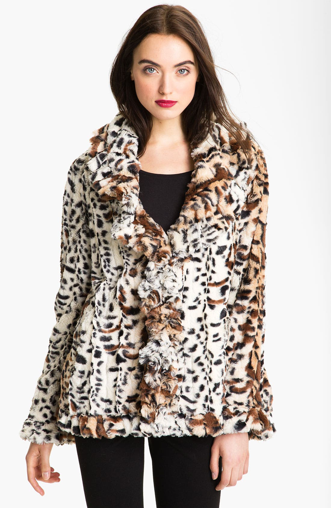 Alternate Image 1  - Damselle Faux Fur Ruffle Coat