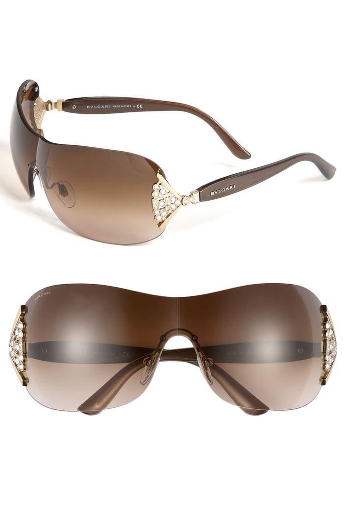 Plastic Glasses Frames Peeling : BVLGARI 63mm Swarovski Crystal Rimless Shield Sunglasses ...