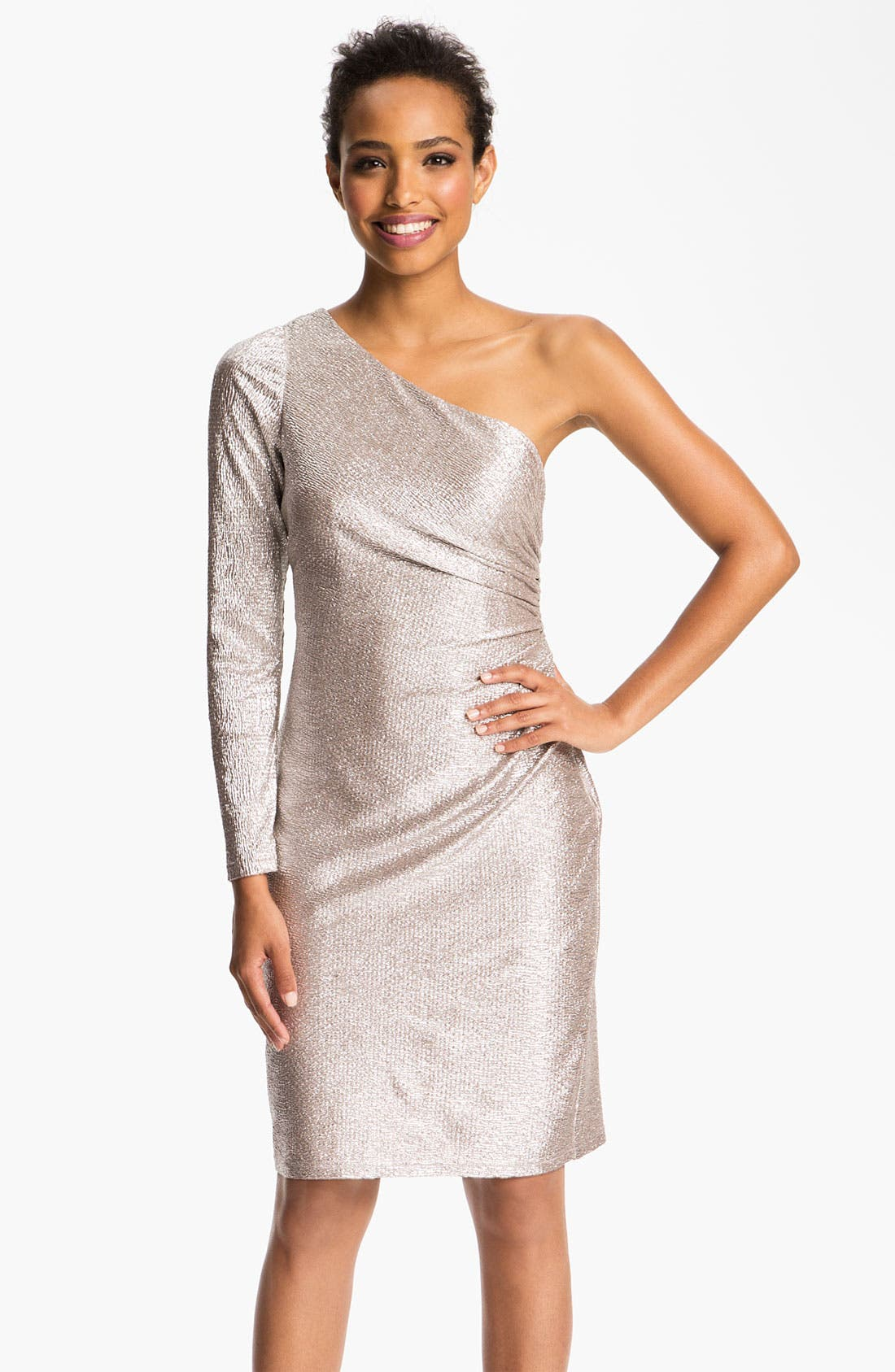 Alternate Image 1  - Hailey by Adrianna Papell One Sleeve Metallic Sheath Dress