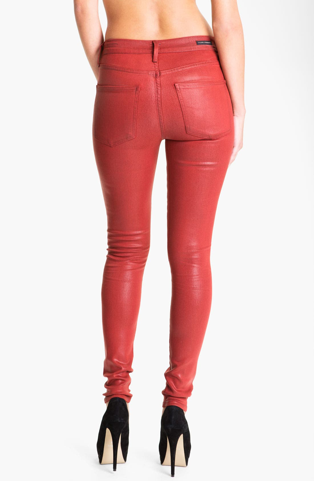 Alternate Image 2  - Citizens of Humanity 'Rocket' Skinny Leatherette Jeans (Vamp Red)
