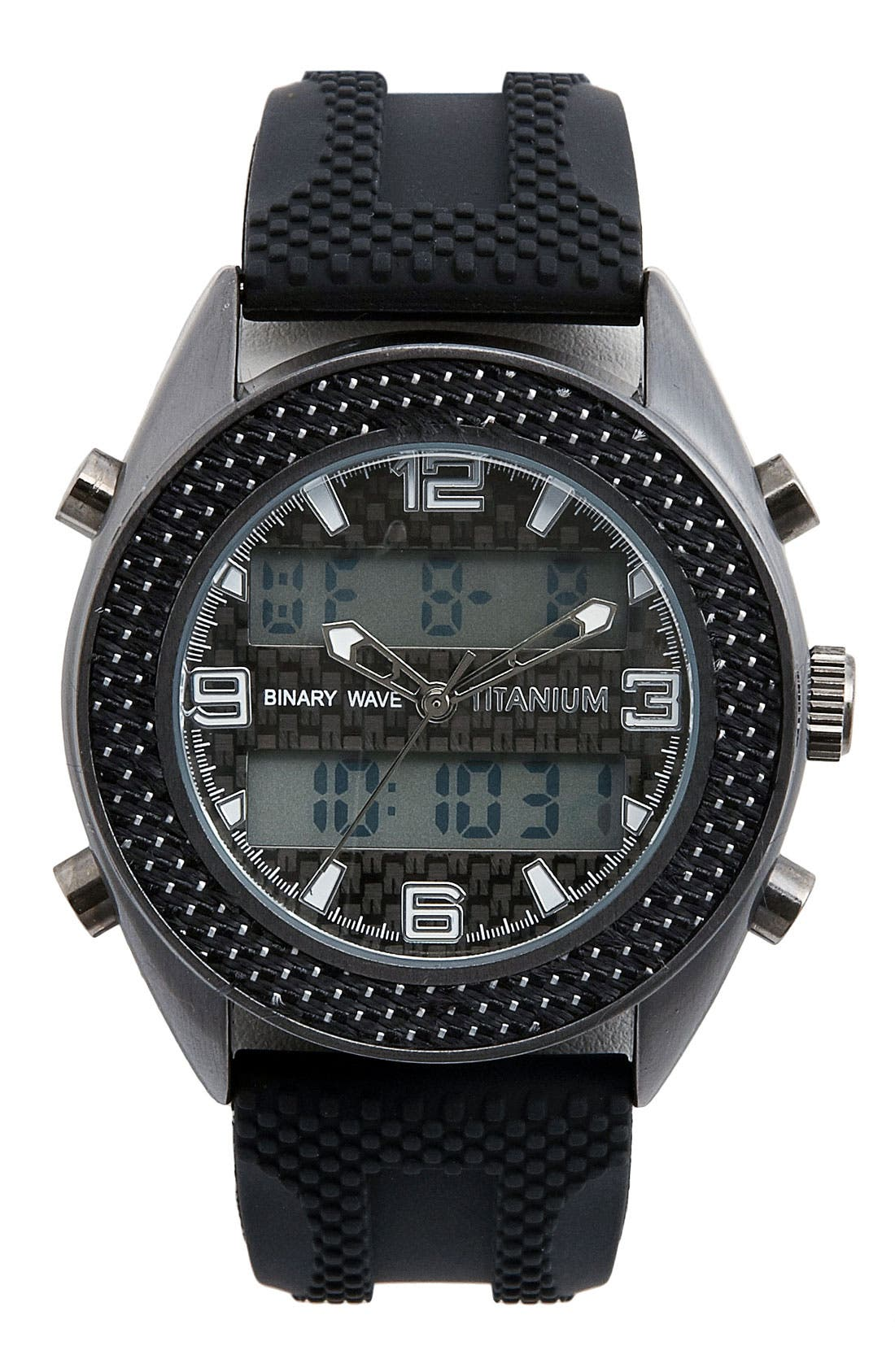 Alternate Image 1 Selected - Titanium 'Binary Wave' Chronograph Silicone Strap Watch