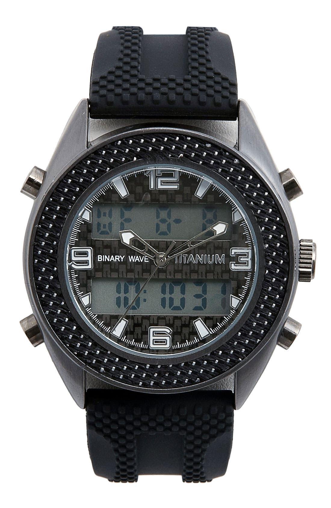 Main Image - Titanium 'Binary Wave' Chronograph Silicone Strap Watch