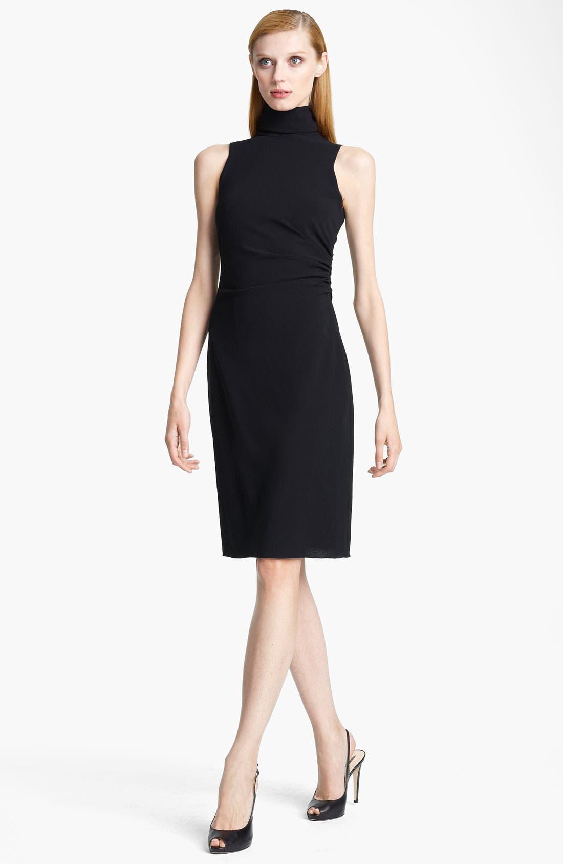 Main Image - Armani Collezioni Mock Neck Crepe Dress