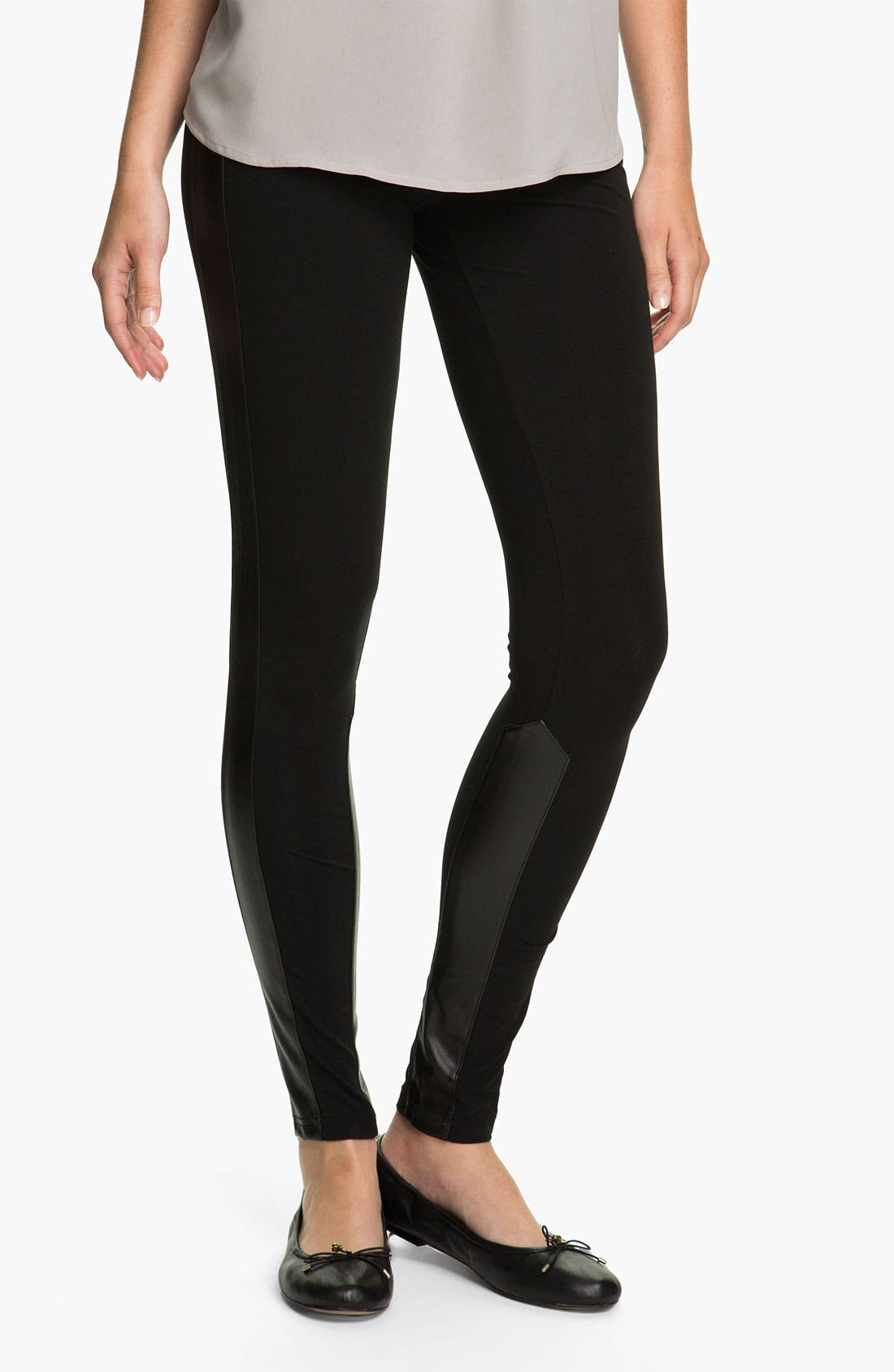 Alternate Image 1 Selected - Rubbish® Faux Leather Panel Leggings (Juniors)