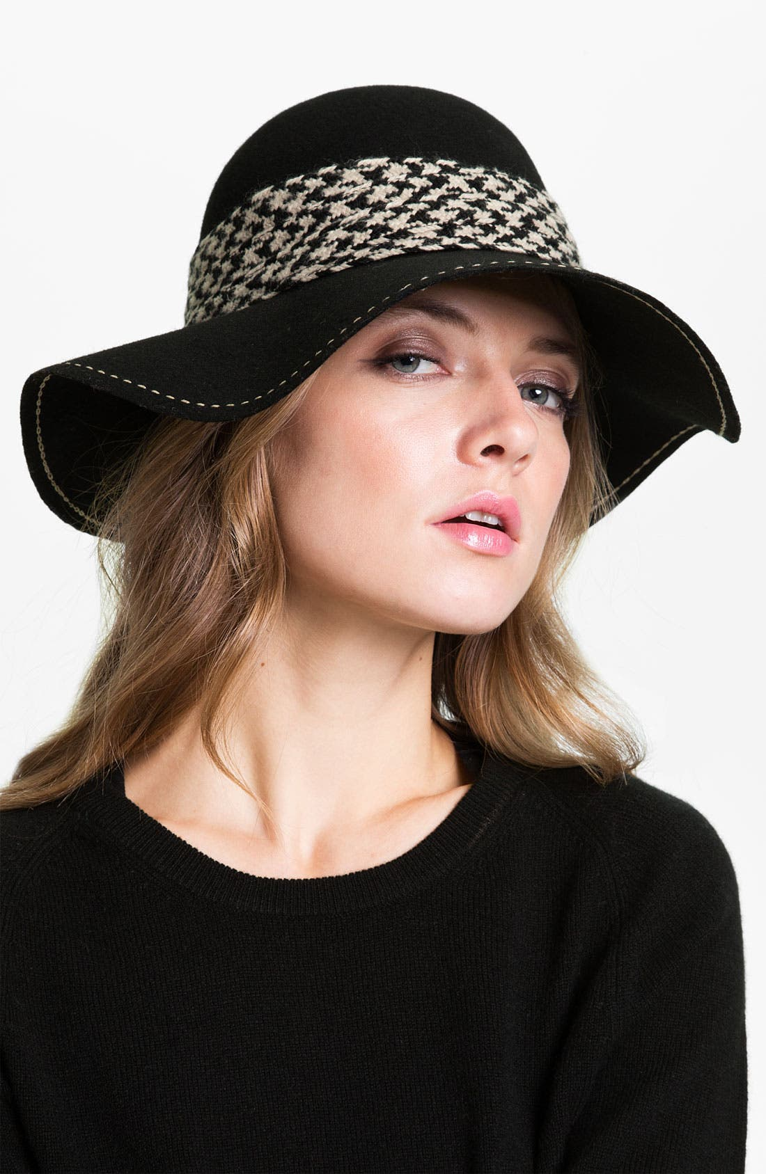 Main Image - Halogen® Houndstooth Trim Floppy Wool Hat