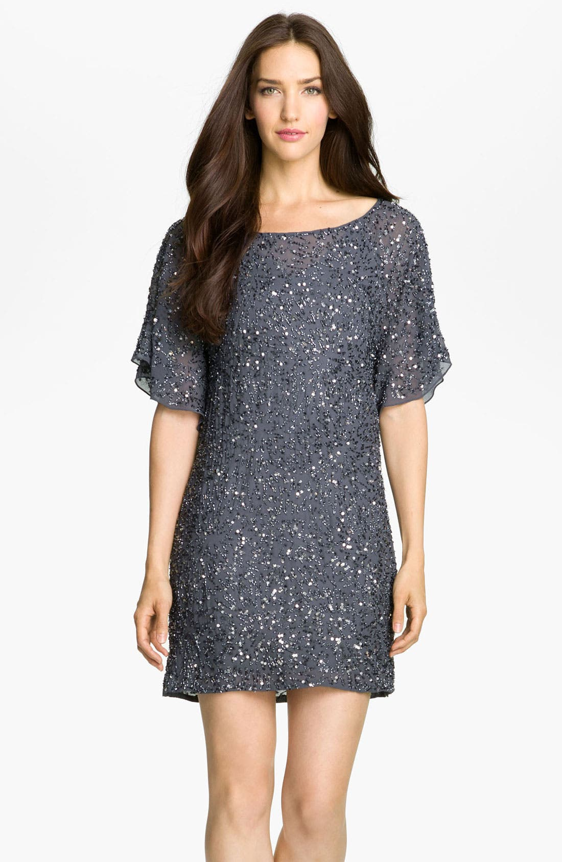 Main Image - Aidan Mattox Drape Back Embellished Chiffon Shift Dress