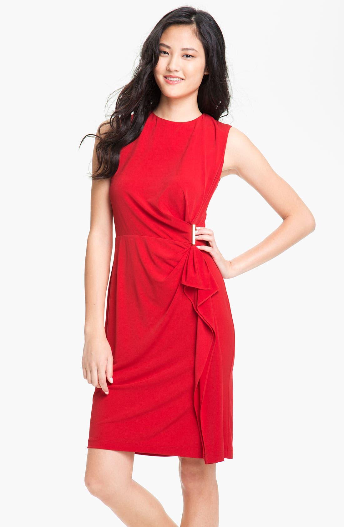 Alternate Image 1 Selected - Calvin Klein Side Ruffle Jersey Sheath Dress