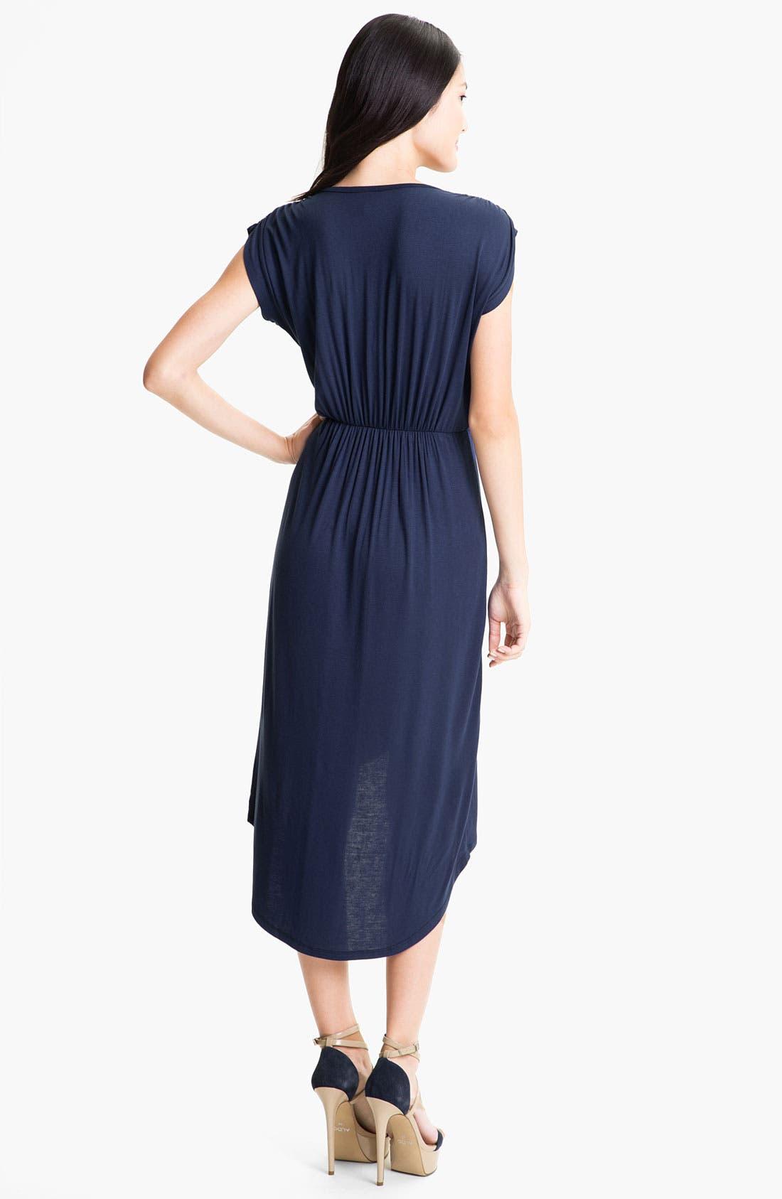 Alternate Image 2  - Loveappella Faux Wrap High Low Dress (Petite)