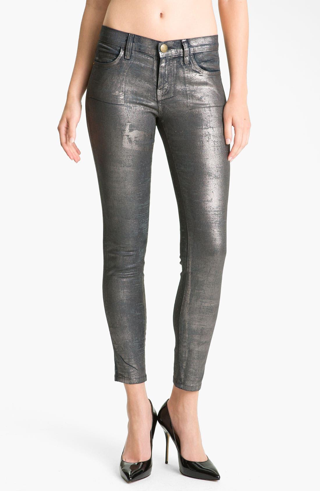 Alternate Image 1 Selected - Current/Elliott Metallic Skinny Jeans (Silver Coated Foil)