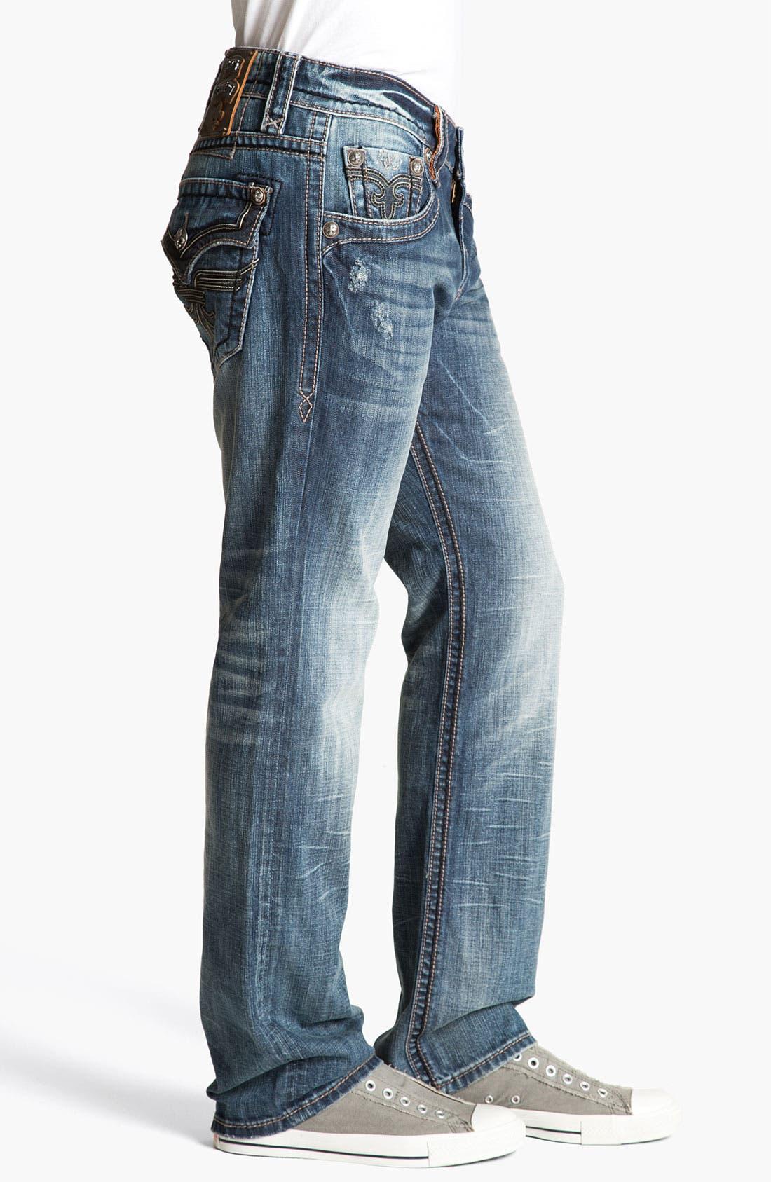 Alternate Image 3  - Rock Revival 'Chopper' Straight Leg Jeans (Vintage Blue)