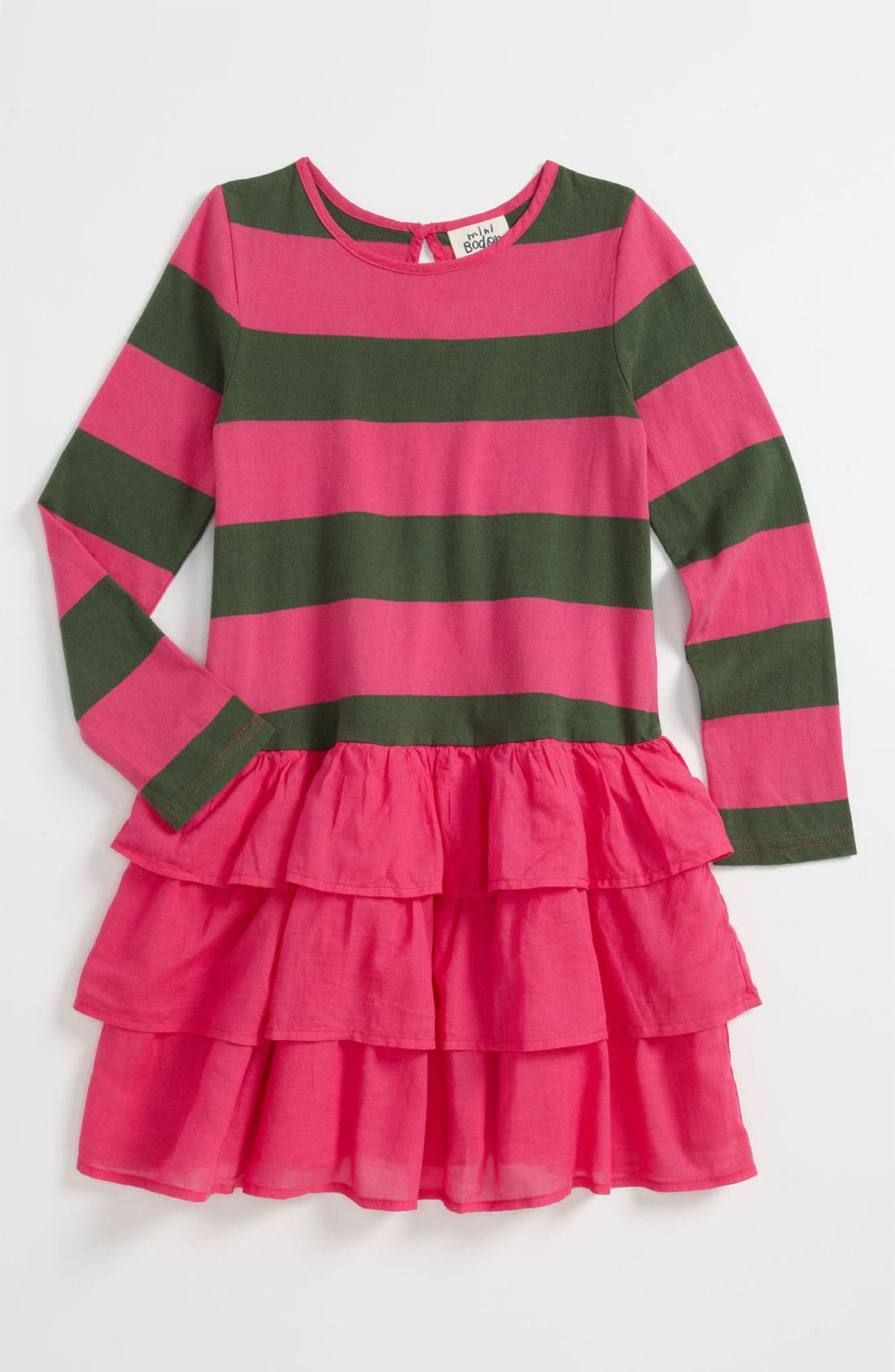 Main Image - Mini Boden Stripe Ruffle Dress (Little Girls & Big Girls)